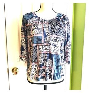 Multicolored Patterned Long Sleeve Blouse